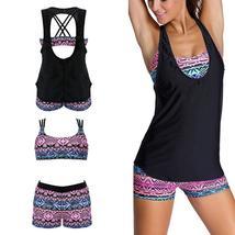 Women's Fashion Swimwear Padded Tankini Set Sporty with Boy Shorts Bikini Swimsu image 8