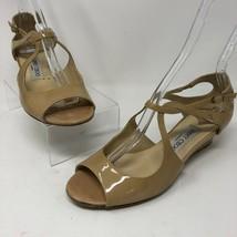 Jimmy Choo 37.5 Peep Toe Wedge Sandal Nude Patent Leather Criss Cross Bu... - $84.99
