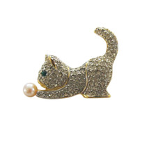 Pave Rhinestone Figural Cat with Yarn Ball Brooch Pin - $22.00