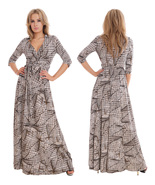 Long Summer Maxi Dress Day Evening Holiday Party Prom Wrap Design By MQ UK - $49.00