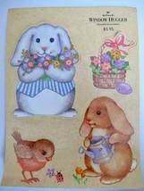 VINTAGE Hallmark Window Hugger Easter Bunny Bird Squirrel Decorations Clings 80s - $17.99