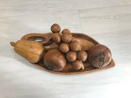 Hand Carved Wooden Bowl Fruit Elongated Bowl- 5 Pieces Assorted Fruit De... - $15.40