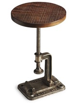 Restoration Wood Industrial Hardware Crank Adjustable Rustic Side End Ta... - $242.55