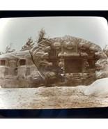 Vtg Magic Lantern Glass Slide Photo India Seven Pagodas Carved Boulder - $14.20