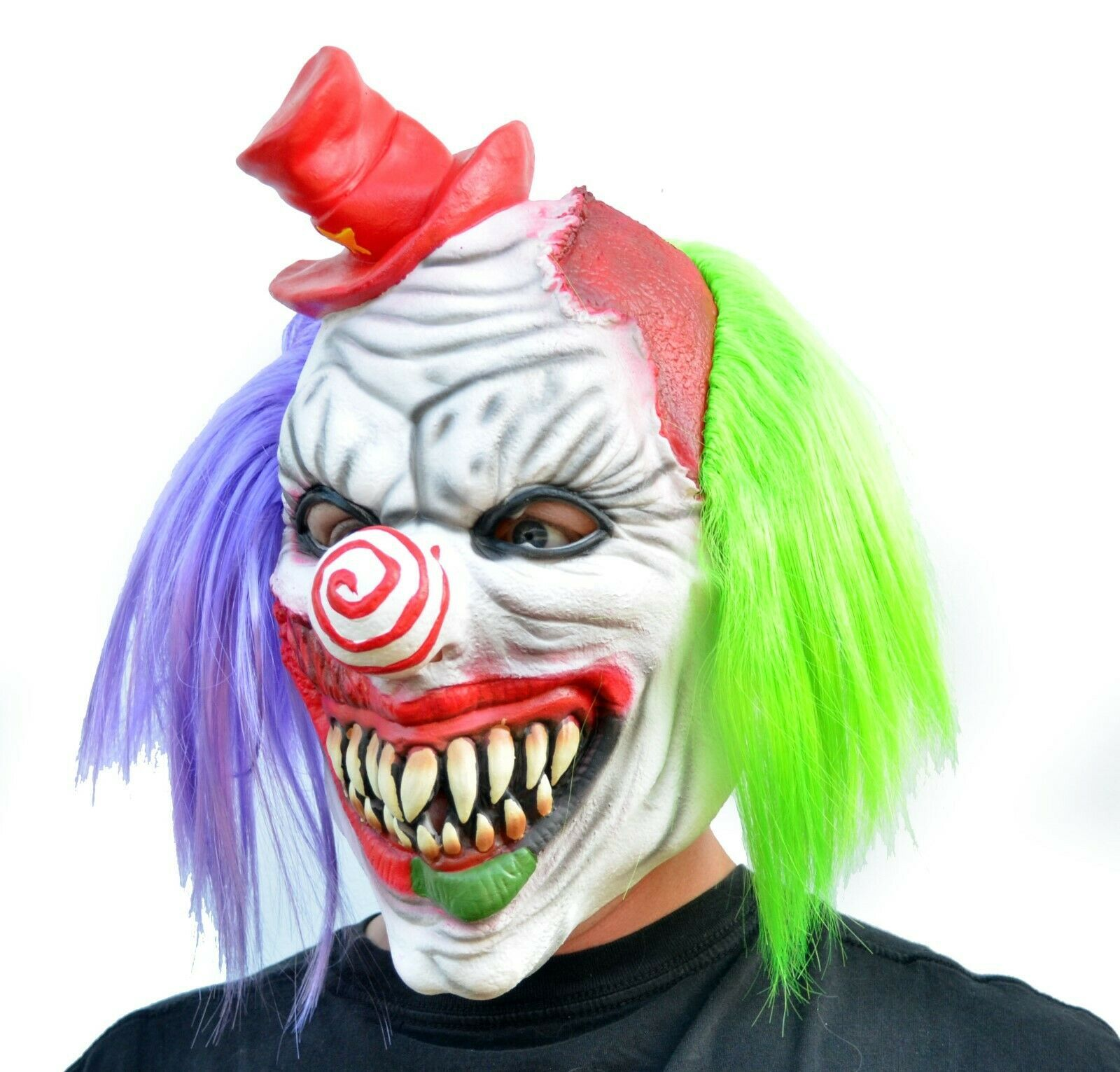 Evil Halloween Clown Mask Costume Party Mask with Hair Killer Psycho the Clown image 3