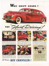 Vintage 1940 Magazine Ad Chrysler Why Shift Gears Try Fluid-Driving Buy ... - $5.93