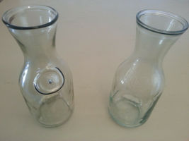 Paul Masson Since 1852 Clear Glass Wine Carafe Bottle Vase - Set of 2  - $13.00