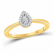 10kt Yellow Gold Womens Round Diamond Teardrop Promise Ring 1/12 Cttw - $266.60