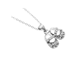 Crystal Stone Pair of Shoes Necklace - $11.95