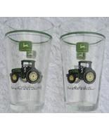 John Deere Tractor Tumblers Glasses Set of 2 Vintage Gibson 16 oz Beer Cups - $25.00