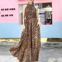 Sleeveless Plus Size Leopard Chiffon Dress Maxi Summer Beach Leopard Dresses image 4