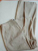 Talbots Curvy Linen Blend Dress Pants Womens Size 14 Beige Wide Leg Stretch - $23.76