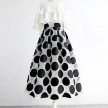 Women White Black Strip Pleated Midi Skirt A-line High Waist Pleated Plaid Skirt image 7