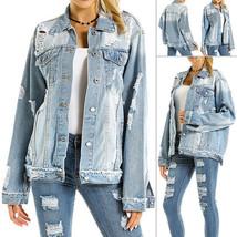US Women Plus Size Ripped Distressed Long Sleeve Biker Denim Jacket Jean... - $114.00