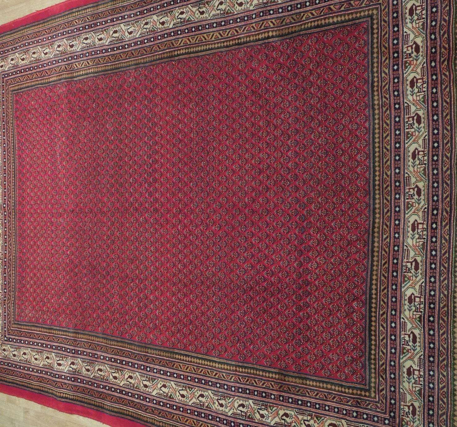 Vivid Boteh Flamed All-Over Persian Hand-Knotted 7x10 Red Mir Wool Area Rug image 10