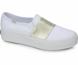 Keds WF58044 Women's Shoes Triple Bandeau Canvas Whie Gold, 6.5 Med - $39.55