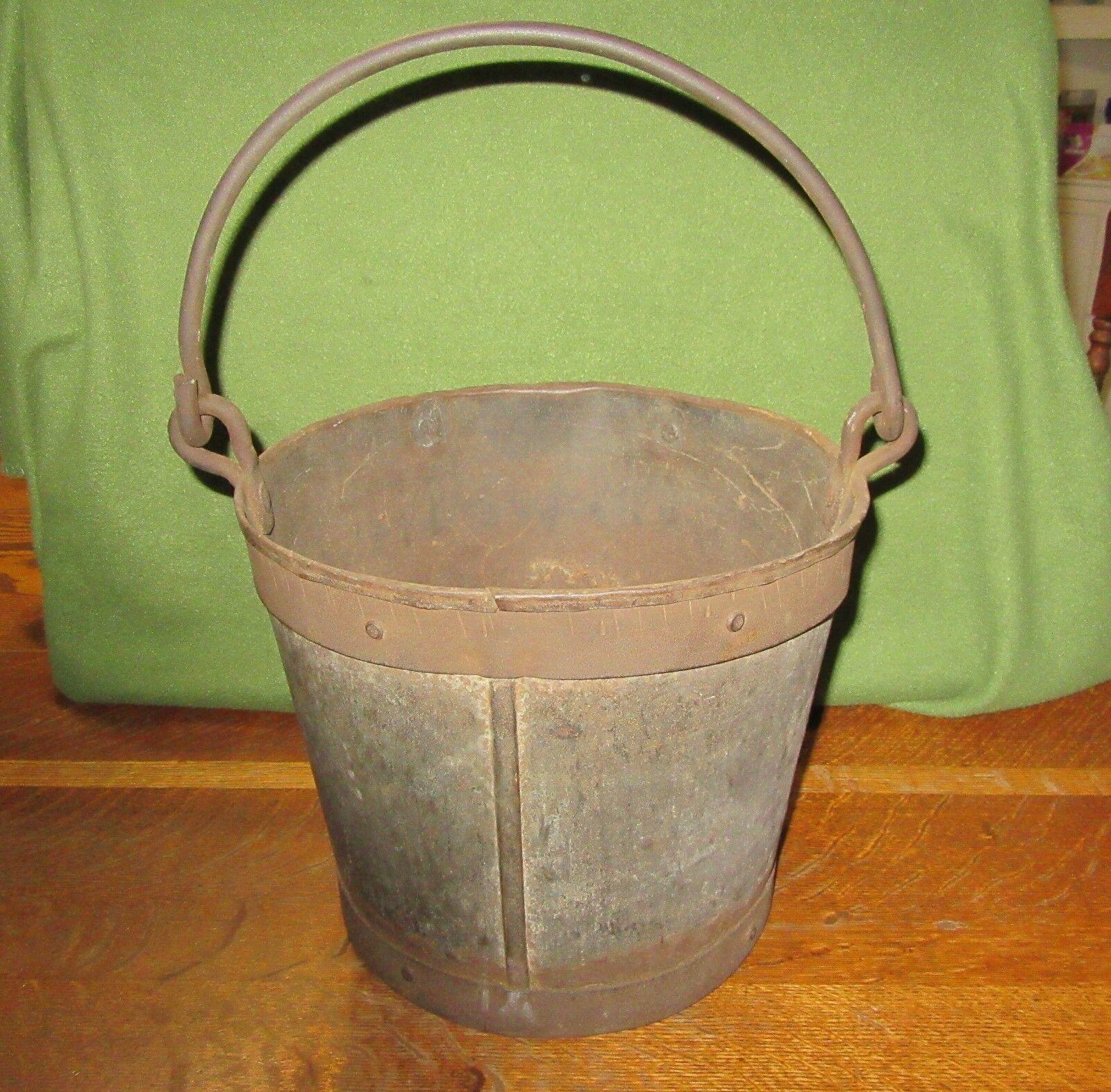"""Antique Steel Bucket Pail--Heavy Steel Rimmed-Handle-9 1/2"""" Tall"""