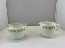 2 PC CORELLE CORNING PYREX GOLD BUTTERFLY CREAMER & SUGAR BOWL WITH LID - $18.66