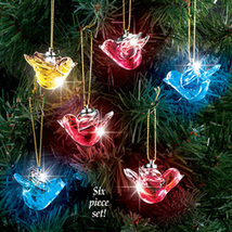 Lighted Glass Dove Christmas Ornaments Set - $18.74