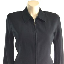 Nordstrom jacket 12 Large classic black zip front 100% worsted wool blaz... - $17.95