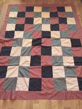 Handmade Quilt Top 50 X 65 Brown Beige Army Green Squares - $19.79