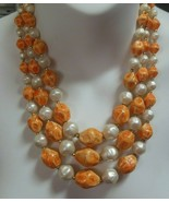 Triple Strand Necklace Orange Art Bead and Faux Baroque Pearl Signed Japan - £50.86 GBP