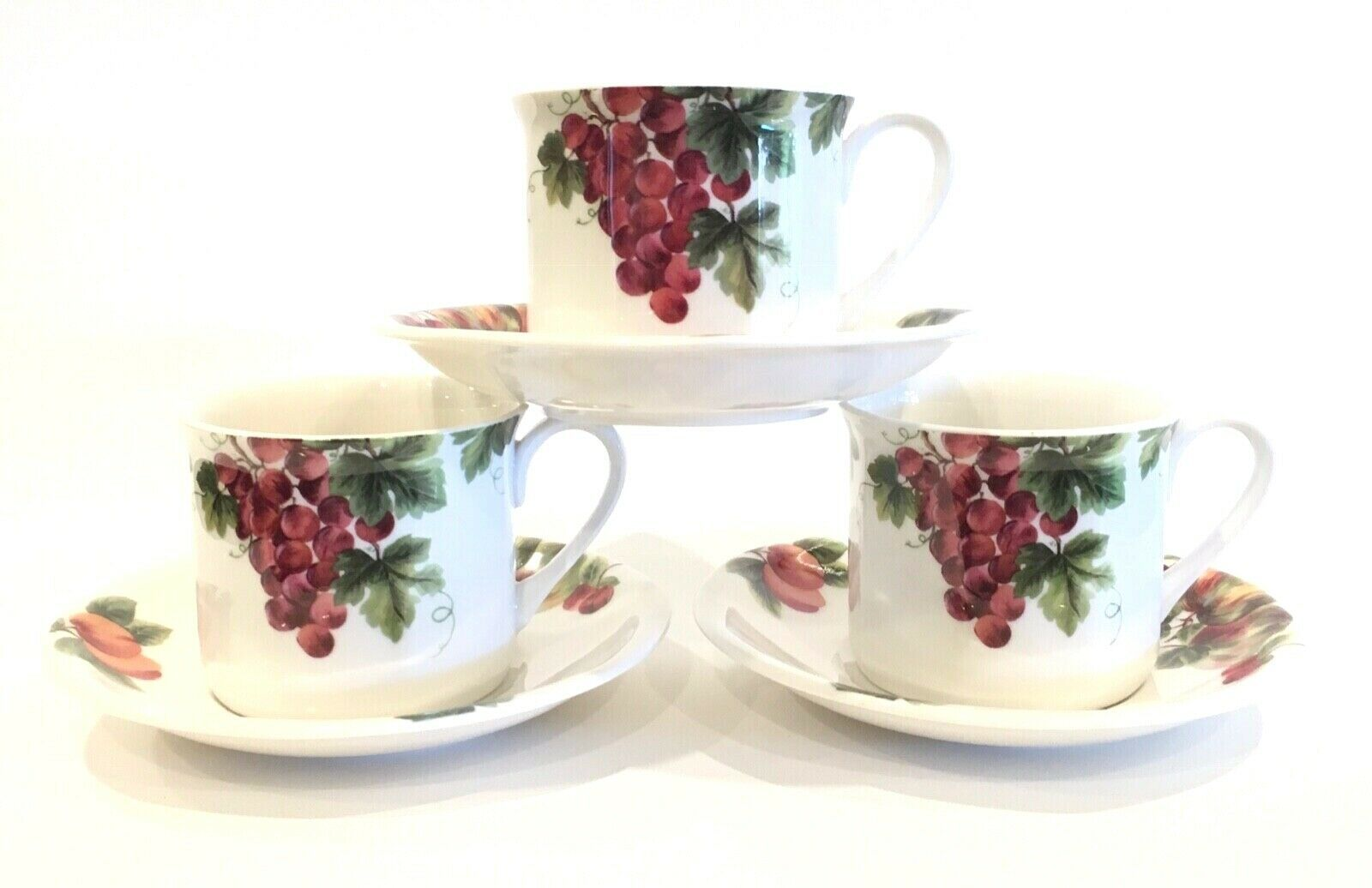 Royal Doulton Everyday VINTAGE GRAPE Flat Coffee Cups & Saucers Set of 3 1994 - $26.99