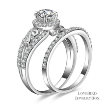 0.56 ct Round Halo Bridge Accent 925 Silver Cubic Zirconia Engagement Ring Set - $53.20