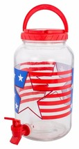 Patriotic Stars & Stripes Glass Lemonade,Tea Beverage Dispenser Holds 1 ... - $15.47