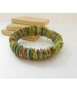Retro Vintage Genuine Dyed Pastel Shell Boho Stretch Bangle Bracelet D15 - $14.44