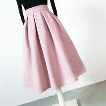 Lady Pink Winter Wool Skirt Pink High Waist Midi Pleated Skirt Winter Party Plus image 3