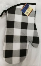 "1 Printed Kitchen OVEN MITT (7""x 12') BLACK & WHITE, black back, GR - $7.91"