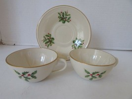 "LENOX CHINA HOLLY & BERRY 2 TEACUPS & 1 SAUCER ""SPECIAL"" MADE IN USA - $6.88"