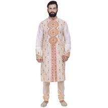 Indian Designer Bollywood Beige Kurta Sherwani For Men 2pc Suit - €60,33 EUR+