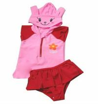 PANDA SUPERSTORE Cute Bunny Swimsuit, Two Piece for Girl, Pink, 4-5 Years Old, 6