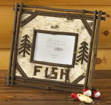 Birch and Twig Picture Frame Fishing Memories 4 x 6 Photo Father's Day G... - $34.55