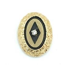 ANSON vintage oval diamond chip tie tack - textured yellow gold plate elegant - $19.60