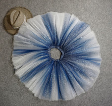 Women Girl Frozen Tutu Skirt Silver Blue Layered Puffy Tutu Skirt image 8