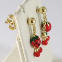 Baby Earrings in Yellow 750 18k Pendants, Strawberries Cherries Enamel, 15 MM image 2