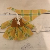 Vintage Ideal Velvet Doll Glad Plaid Yellow Dress Scarf And Undies FREE ... - $39.26