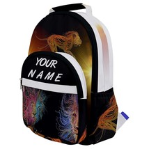 Rounded Multi Pocket Backpack kids school bag customized print with name lion - $53.00