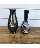 Kutani Style Flower Vases Set Asian Japanese Black Gold Trim  Pheasant F... - $24.00