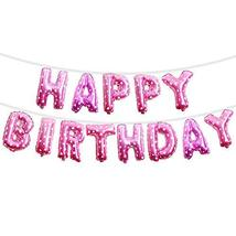 Happy Birthday Banner Balloons Party Pink Foil with Heart Party Decorations, Bal