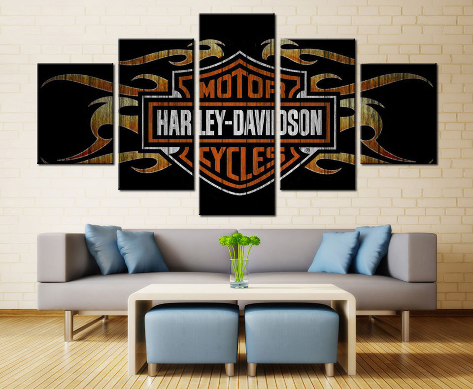 Large Framed Harley Davidson Cycles with Flame print Canvas Home Decor Wall for sale  USA