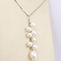 Necklace White Gold 750 18K, Pendant Bunch, White Pearls, Chain Venetian image 2