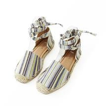 layout linen tie ankle espadrille flat sandal image 5
