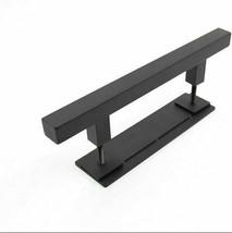 PENSON & CO. 12 Inch Square Pull and Flush Door Handle Set in Black, Sliding Bar