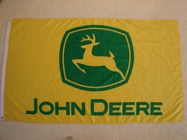 John Deere logo new Yellow and Green 3 x 5 ft Polyester flag with grommets - $22.00