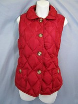 Talbots Womens M Down Puffer Vest Red Quilted Button Up Winter Autumn Ca... - $23.20