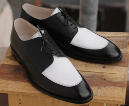 Handmade Men's White and Black Dress/Formal Leather Oxford Shoes image 1